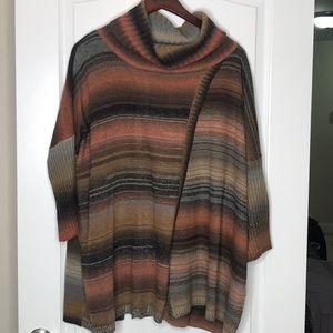 Dor Dor Couture Knit Cowl Neck Sweater Poncho M